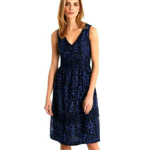 Karl Lagerfeld Blue/Black  Lace Overlay Dress
